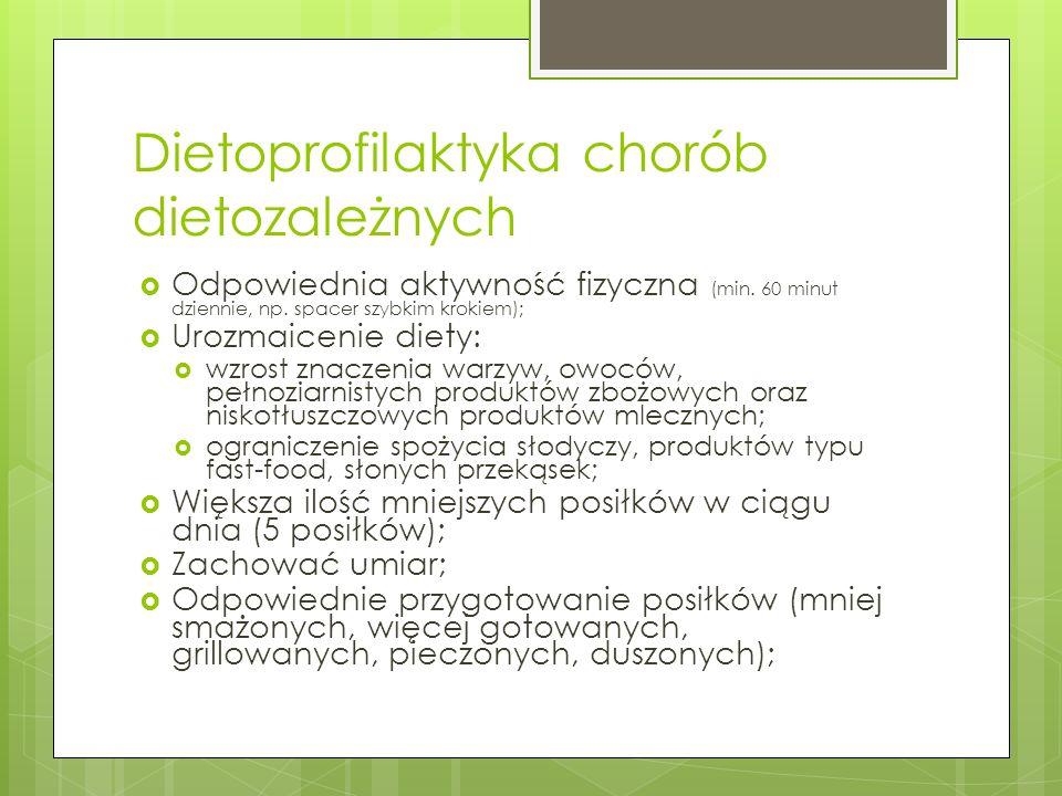 Dietoprofilaktyka chorób dietozależnych Odpowiednia aktywność fizyczna (min. 60 minut dziennie, np. spacer szybkim krokiem); Urozmaicenie diety: wzros