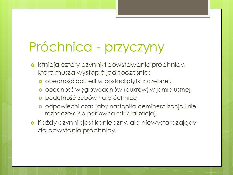 Próchnica - skutki Utrata zębów; Zapalenie dziąseł; Ropnie; Zakażenie krwi i różnych narządów np.