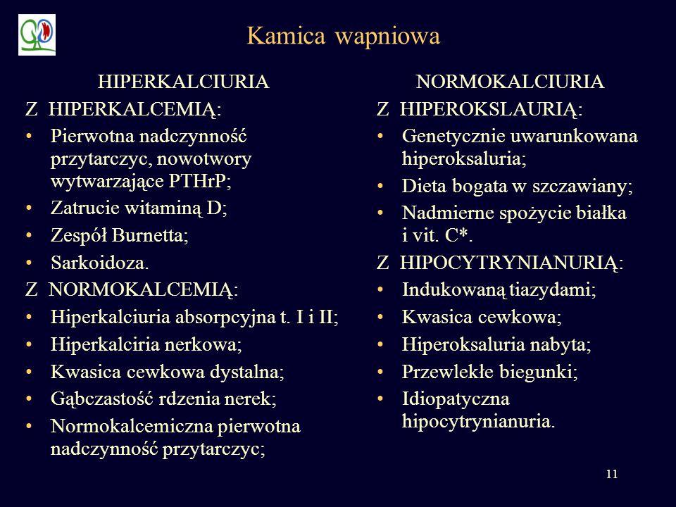 11 Kamica wapniowa HIPERKALCIURIA Z HIPERKALCEMIĄ: Pierwotna nadczynność przytarczyc, nowotwory wytwarzające PTHrP; Zatrucie witaminą D; Zespół Burnet