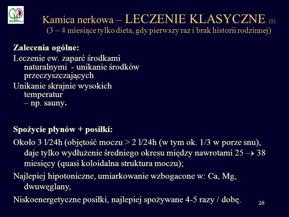 26 Kamica nerkowa – LECZENIE KLASYCZNE (1) (3 – 4 miesiące tylko dieta, gdy pierwszy raz i brak historii rodzinnej) Zalecenia ogólne: Leczenie ew. zap