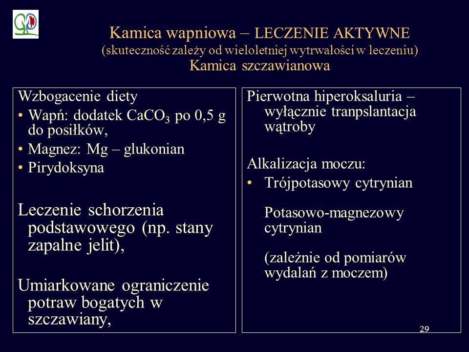 29 Kamica wapniowa – LECZENIE AKTYWNE (skuteczność zależy od wieloletniej wytrwałości w leczeniu) Kamica szczawianowa Pierwotna hiperoksaluria – wyłąc