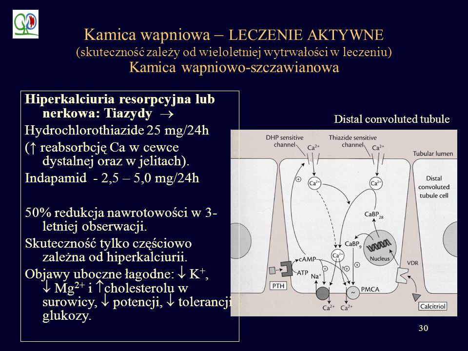 30 Kamica wapniowa – LECZENIE AKTYWNE (skuteczność zależy od wieloletniej wytrwałości w leczeniu) Kamica wapniowo-szczawianowa Distal convoluted tubul