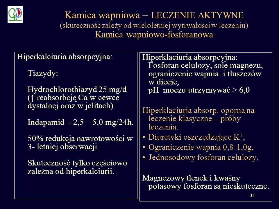 31 Kamica wapniowa – LECZENIE AKTYWNE (skuteczność zależy od wieloletniej wytrwałości w leczeniu) Kamica wapniowo-fosforanowa Hiperklaciuria absorpcyj