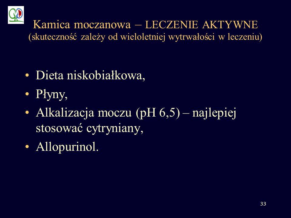 33 Kamica moczanowa – LECZENIE AKTYWNE (skuteczność zależy od wieloletniej wytrwałości w leczeniu) Dieta niskobiałkowa, Płyny, Alkalizacja moczu (pH 6