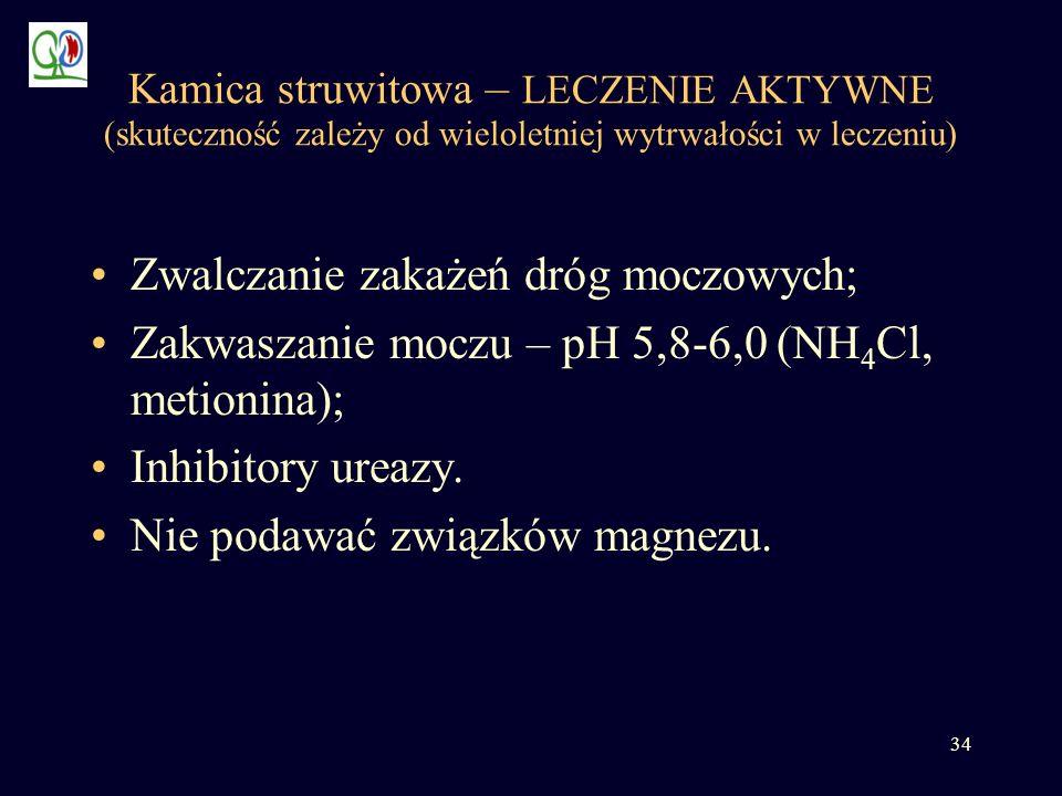 34 Kamica struwitowa – LECZENIE AKTYWNE (skuteczność zależy od wieloletniej wytrwałości w leczeniu) Zwalczanie zakażeń dróg moczowych; Zakwaszanie moc