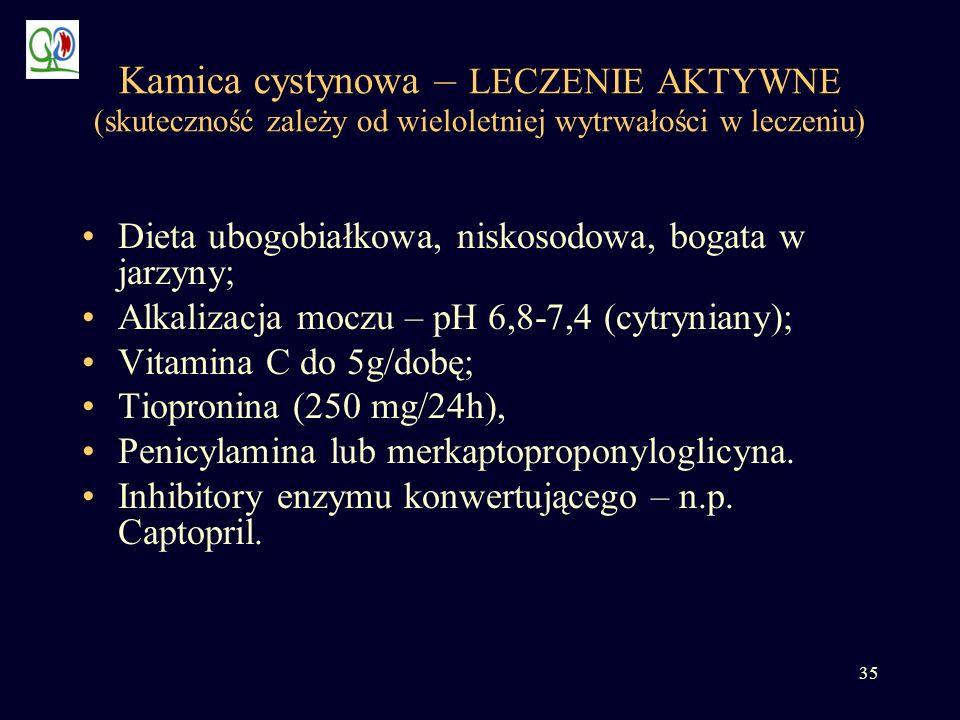 35 Kamica cystynowa – LECZENIE AKTYWNE (skuteczność zależy od wieloletniej wytrwałości w leczeniu) Dieta ubogobiałkowa, niskosodowa, bogata w jarzyny;