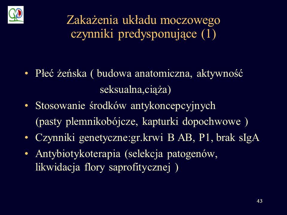 43 Zakażenia układu moczowego czynniki predysponujące (1) Płeć żeńska ( budowa anatomiczna, aktywność seksualna,ciąża) Stosowanie środków antykoncepcy