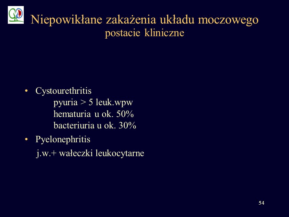 54 Niepowikłane zakażenia układu moczowego postacie kliniczne Cystourethritis pyuria > 5 leuk.wpw hematuria u ok. 50% bacteriuria u ok. 30% Pyelonephr