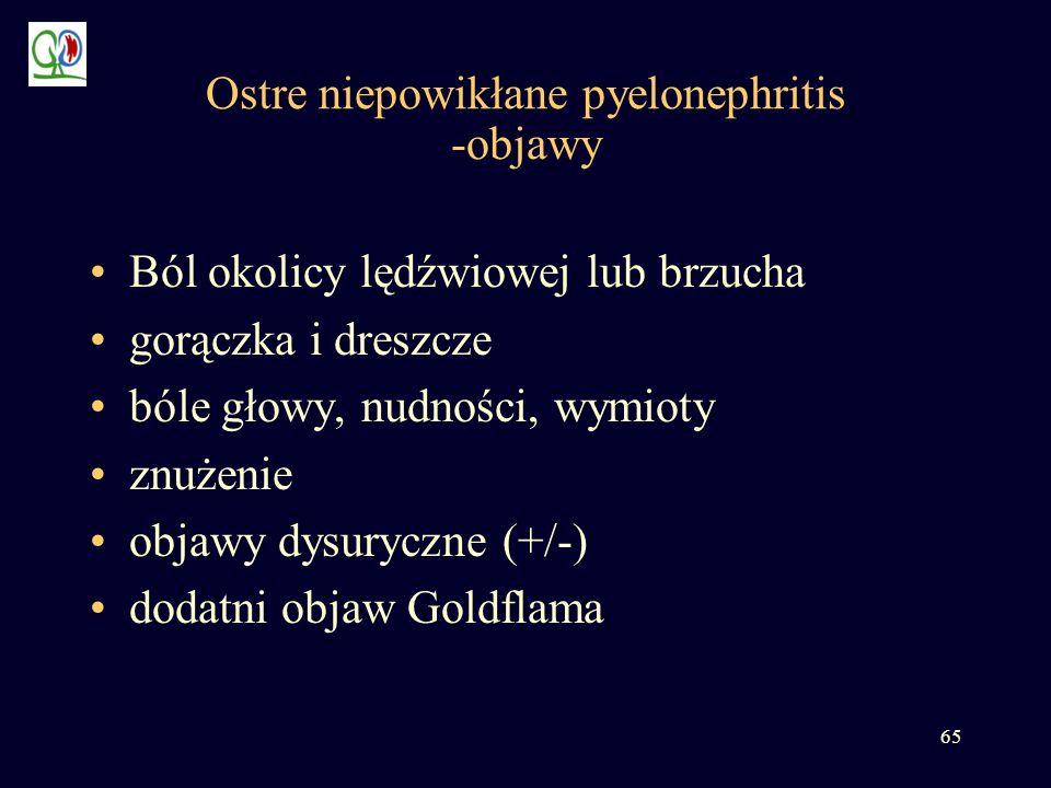 65 Ostre niepowikłane pyelonephritis -objawy Ból okolicy lędźwiowej lub brzucha gorączka i dreszcze bóle głowy, nudności, wymioty znużenie objawy dysu