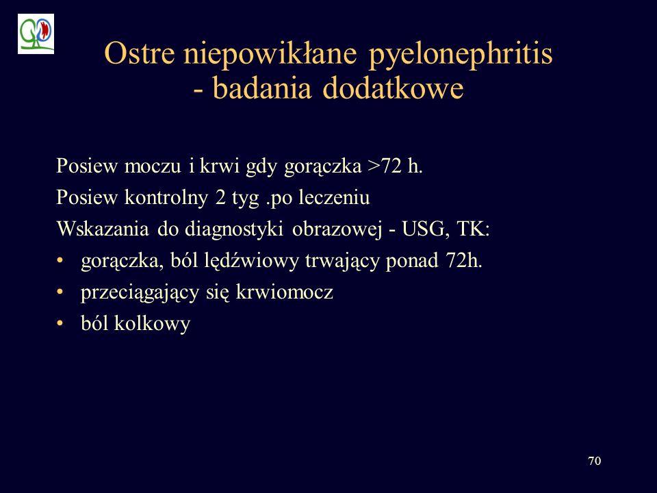 70 Ostre niepowikłane pyelonephritis - badania dodatkowe Posiew moczu i krwi gdy gorączka >72 h. Posiew kontrolny 2 tyg.po leczeniu Wskazania do diagn