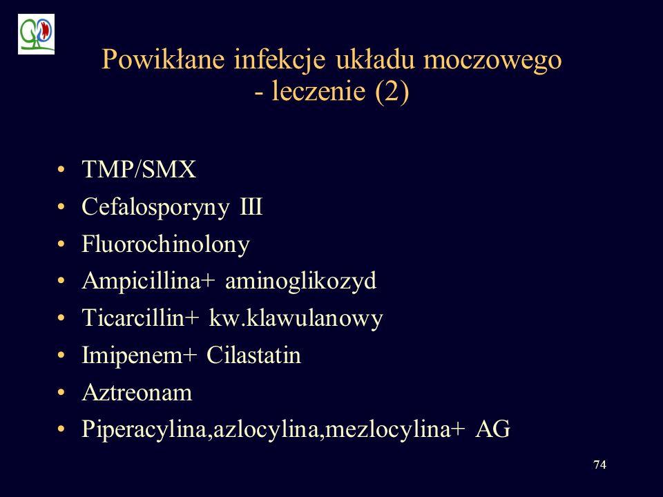 74 Powikłane infekcje układu moczowego - leczenie (2) TMP/SMX Cefalosporyny III Fluorochinolony Ampicillina+ aminoglikozyd Ticarcillin+ kw.klawulanowy