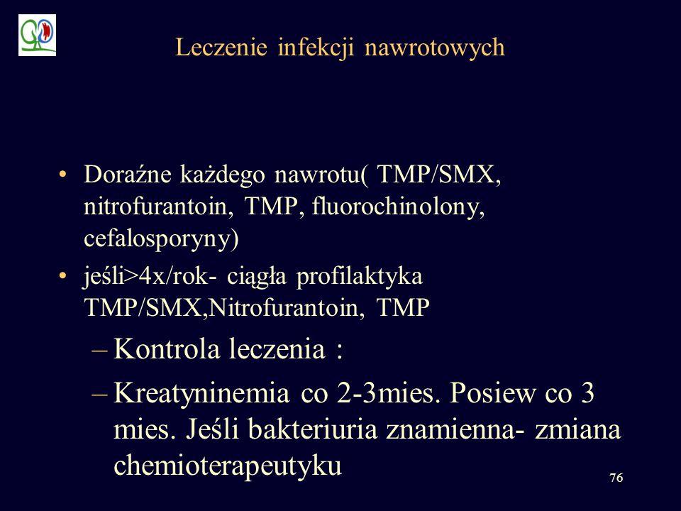 76 Leczenie infekcji nawrotowych Doraźne każdego nawrotu( TMP/SMX, nitrofurantoin, TMP, fluorochinolony, cefalosporyny) jeśli>4x/rok- ciągła profilakt