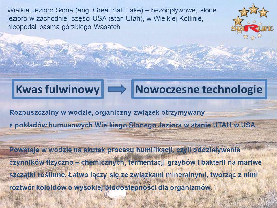 Rozpuszczalny w wodzie, organiczny związek otrzymywany z pokładów humusowych Wielkiego Słonego Jeziora w stanie UTAH w USA. Powstaje w wodzie na skute