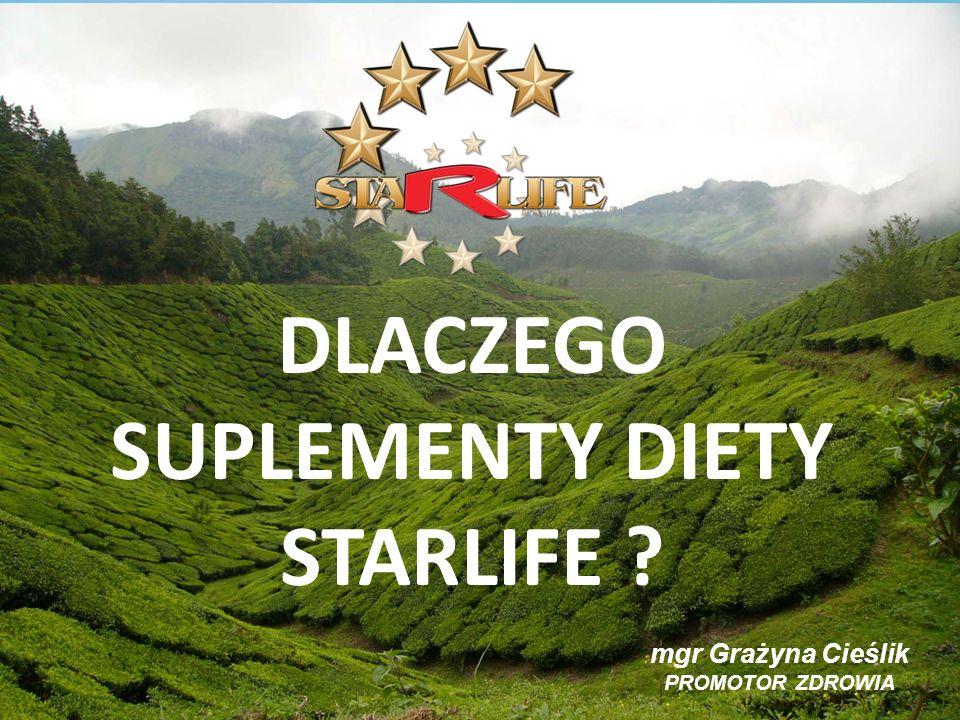 DLACZEGO SUPLEMENTY DIETY STARLIFE ? mgr Grażyna Cieślik PROMOTOR ZDROWIA