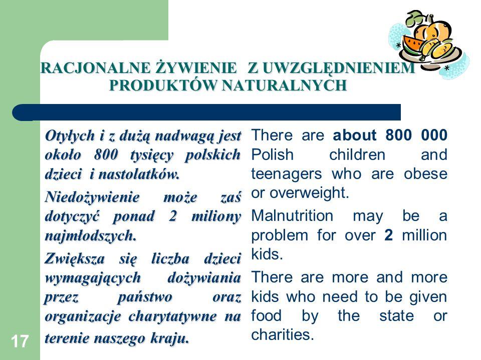 17 RACJONALNE ŻYWIENIE Z UWZGLĘDNIENIEM PRODUKTÓW NATURALNYCH Otyłych i z dużą nadwagą jest około 800 tysięcy polskich dzieci i nastolatków. Niedożywi