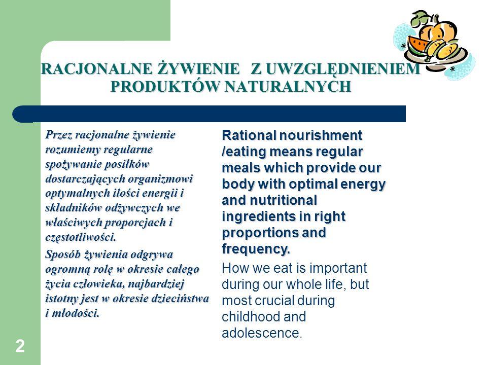 2 RACJONALNE ŻYWIENIE Z UWZGLĘDNIENIEM PRODUKTÓW NATURALNYCH Przez racjonalne żywienie rozumiemy regularne spożywanie posiłków dostarczających organiz