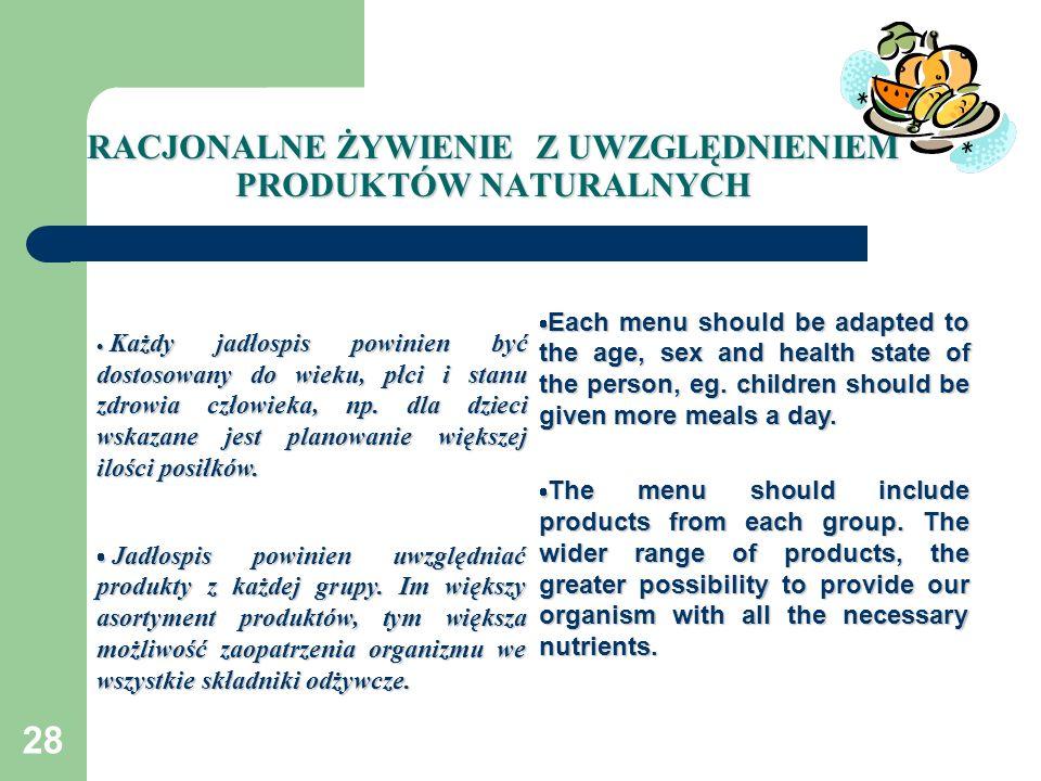 28 RACJONALNE ŻYWIENIE Z UWZGLĘDNIENIEM PRODUKTÓW NATURALNYCH Każdy jadłospis powinien być dostosowany do wieku, płci i stanu zdrowia człowieka, np. d