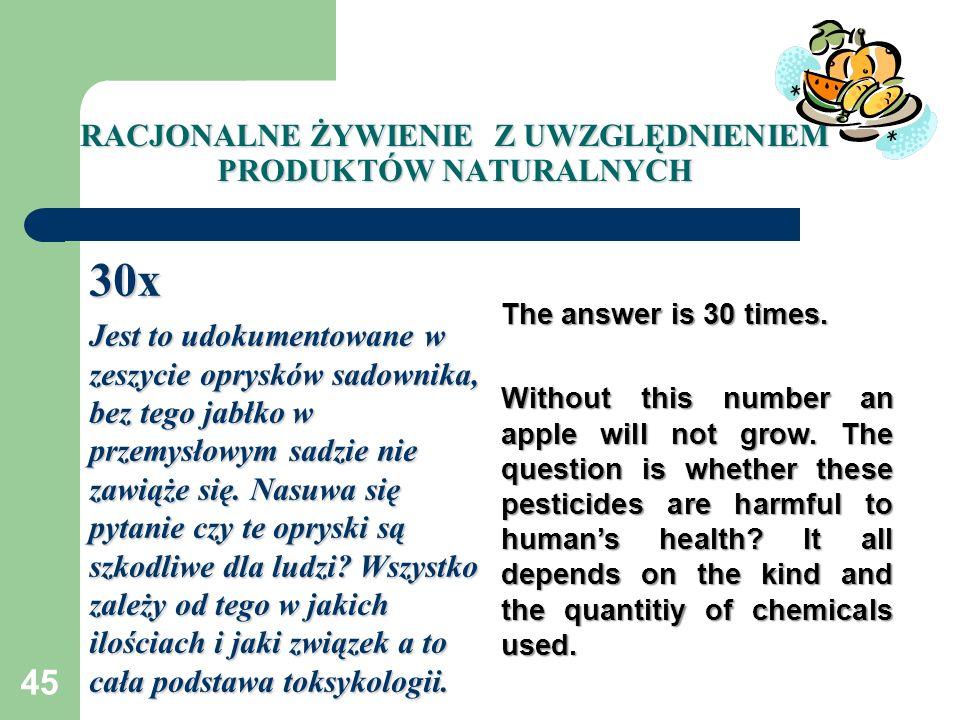 45 RACJONALNE ŻYWIENIE Z UWZGLĘDNIENIEM PRODUKTÓW NATURALNYCH 30x Jest to udokumentowane w zeszycie oprysków sadownika, bez tego jabłko w przemysłowym
