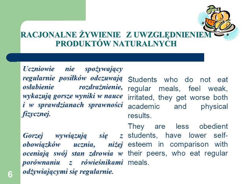 6 RACJONALNE ŻYWIENIE Z UWZGLĘDNIENIEM PRODUKTÓW NATURALNYCH Uczniowie nie spożywający regularnie posiłków odczuwają osłabienie rozdrażnienie, wykazuj