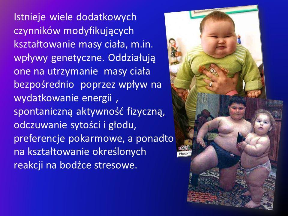 Istnieje wiele dodatkowych czynników modyfikujących kształtowanie masy ciała, m.in. wpływy genetyczne. Oddziałują one na utrzymanie masy ciała bezpośr