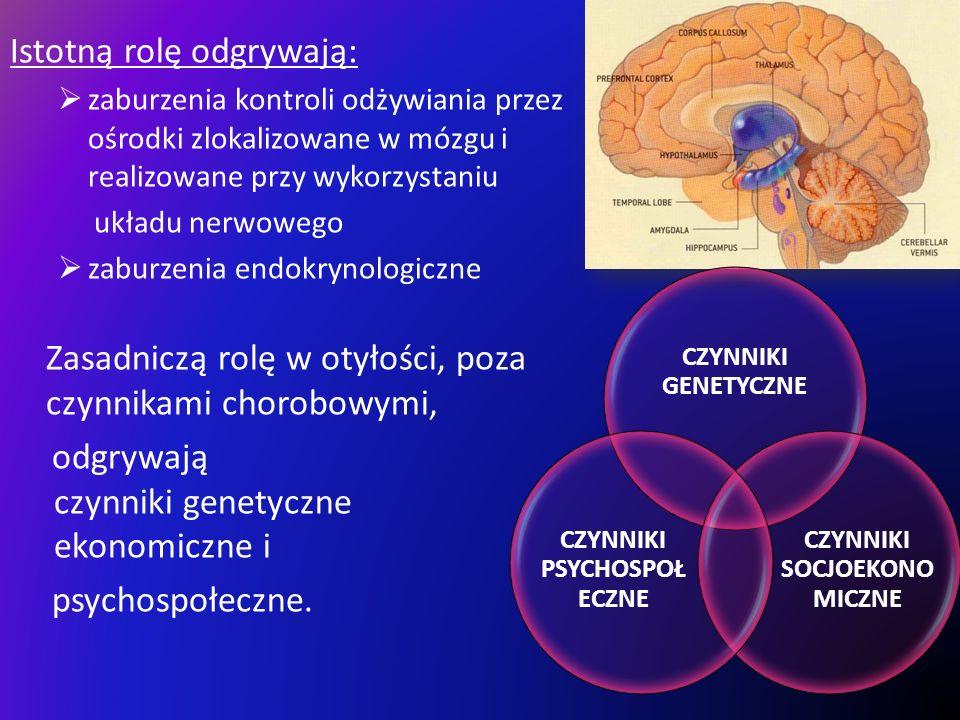 Istotną rolę odgrywają: zaburzenia kontroli odżywiania przez ośrodki zlokalizowane w mózgu i realizowane przy wykorzystaniu układu nerwowego zaburzeni