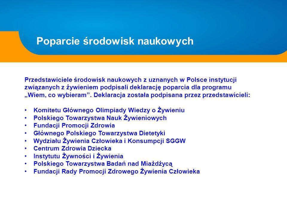 Poparcie środowisk naukowych Przedstawiciele środowisk naukowych z uznanych w Polsce instytucji związanych z żywieniem podpisali deklarację poparcia d