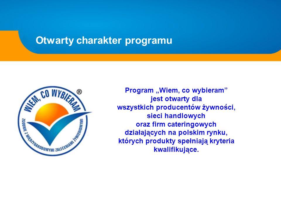 Program Wiem, co wybieram jest otwarty dla wszystkich producentów żywności, sieci handlowych oraz firm cateringowych działających na polskim rynku, kt