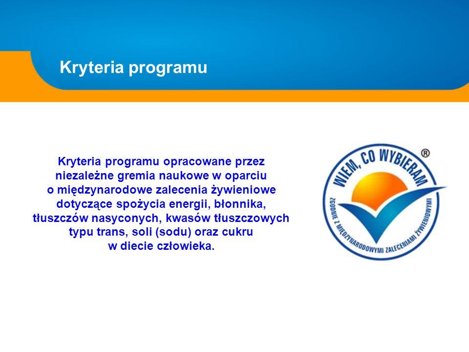 Kryteria programu Kryteria programu opracowane przez niezależne gremia naukowe w oparciu o międzynarodowe zalecenia żywieniowe dotyczące spożycia ener