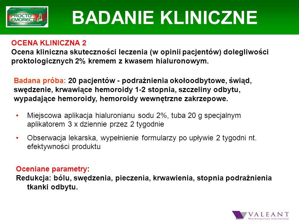 BADANIE KLINICZNE OCENA KLINICZNA 2 Ocena kliniczna skuteczności leczenia (w opinii pacjentów) dolegliwości proktologicznych 2% kremem z kwasem hialur
