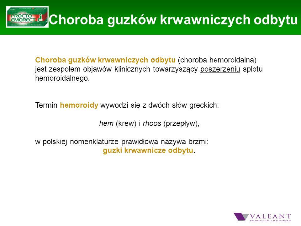 Choroba guzków krwawniczych odbytu Choroba guzków krwawniczych odbytu (choroba hemoroidalna) jest zespołem objawów klinicznych towarzyszący poszerzeni