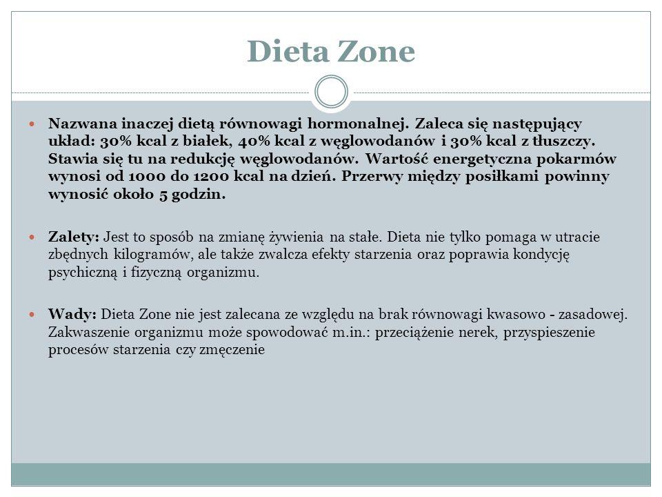 Dieta Zone Nazwana inaczej dietą równowagi hormonalnej. Zaleca się następujący układ: 30% kcal z białek, 40% kcal z węglowodanów i 30% kcal z tłuszczy