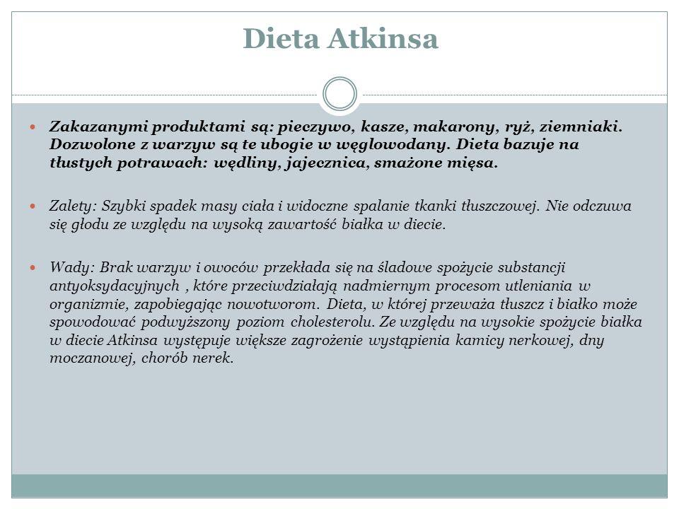 Dieta Atkinsa Zakazanymi produktami są: pieczywo, kasze, makarony, ryż, ziemniaki. Dozwolone z warzyw są te ubogie w węglowodany. Dieta bazuje na tłus