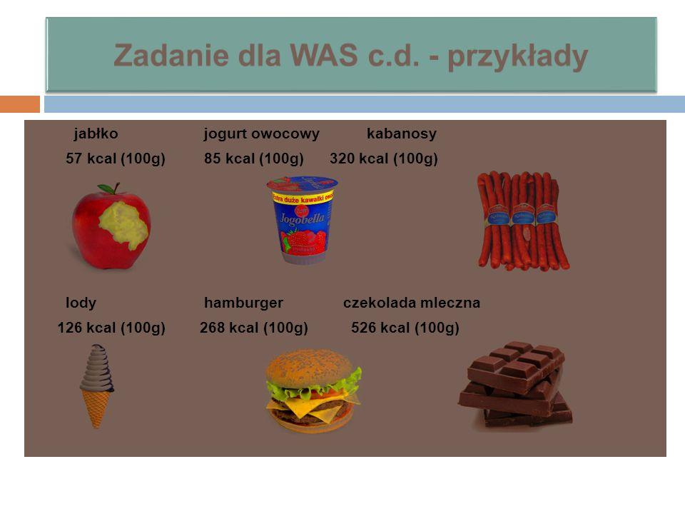 jabłko jogurt owocowy kabanosy 57 kcal (100g) 85 kcal (100g) 320 kcal (100g) lody hamburger czekolada mleczna 126 kcal (100g) 268 kcal (100g) 526 kcal