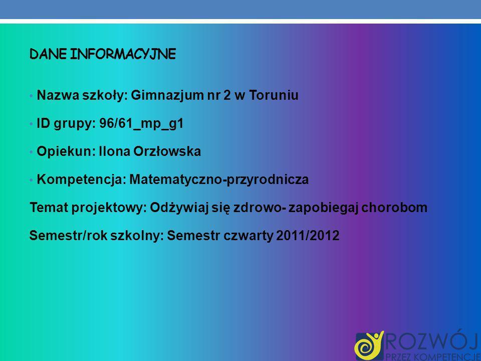 DANE INFORMACYJNE Nazwa szkoły: Gimnazjum nr 2 w Toruniu ID grupy: 96/61_mp_g1 Opiekun: Ilona Orzłowska Kompetencja: Matematyczno-przyrodnicza Temat p