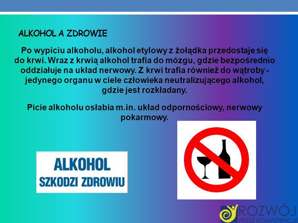ALKOHOL A ZDROWIE Po wypiciu alkoholu, alkohol etylowy z żołądka przedostaje się do krwi. Wraz z krwią alkohol trafia do mózgu, gdzie bezpośrednio odd