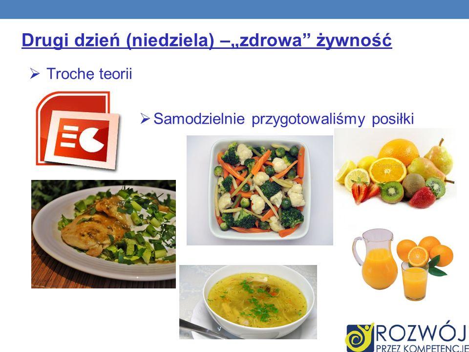 Drugi dzień (niedziela) –zdrowa żywność Trochę teorii Samodzielnie przygotowaliśmy posiłki