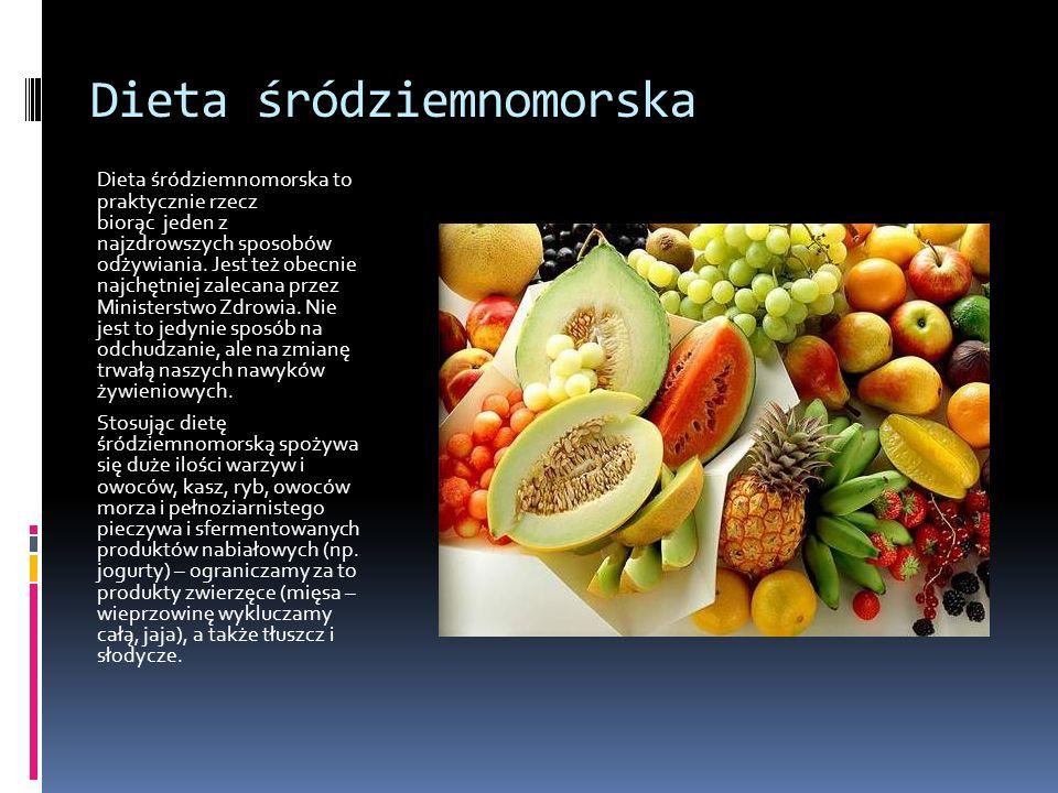 Dieta śródziemnomorska Dieta śródziemnomorska to praktycznie rzecz biorąc jeden z najzdrowszych sposobów odżywiania. Jest też obecnie najchętniej zale