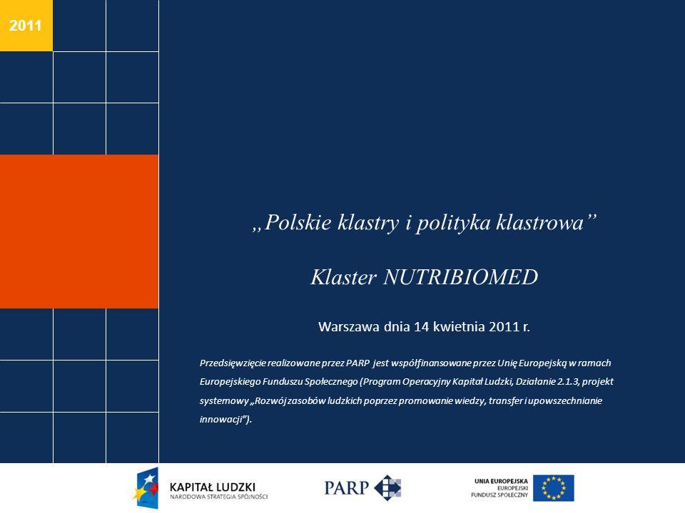 2011 Polskie klastry i polityka klastrowa Klaster NUTRIBIOMED Warszawa dnia 14 kwietnia 2011 r. Przedsięwzięcie realizowane przez PARP jest współfinan