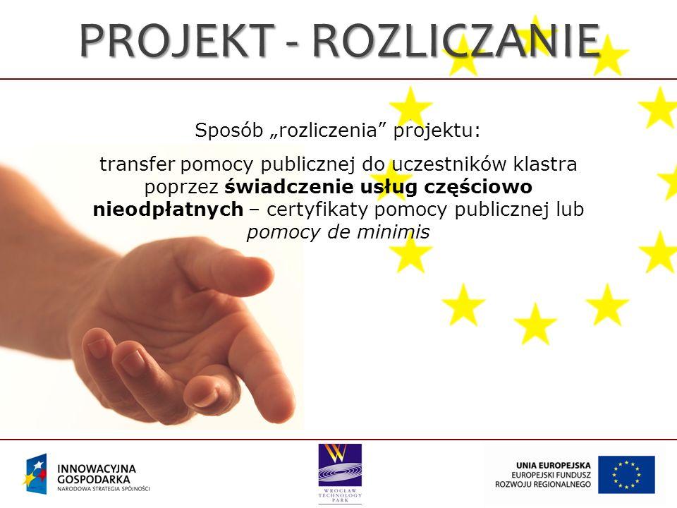PROJEKT - ROZLICZANIE Sposób rozliczenia projektu: transfer pomocy publicznej do uczestników klastra poprzez świadczenie usług częściowo nieodpłatnych – certyfikaty pomocy publicznej lub pomocy de minimis