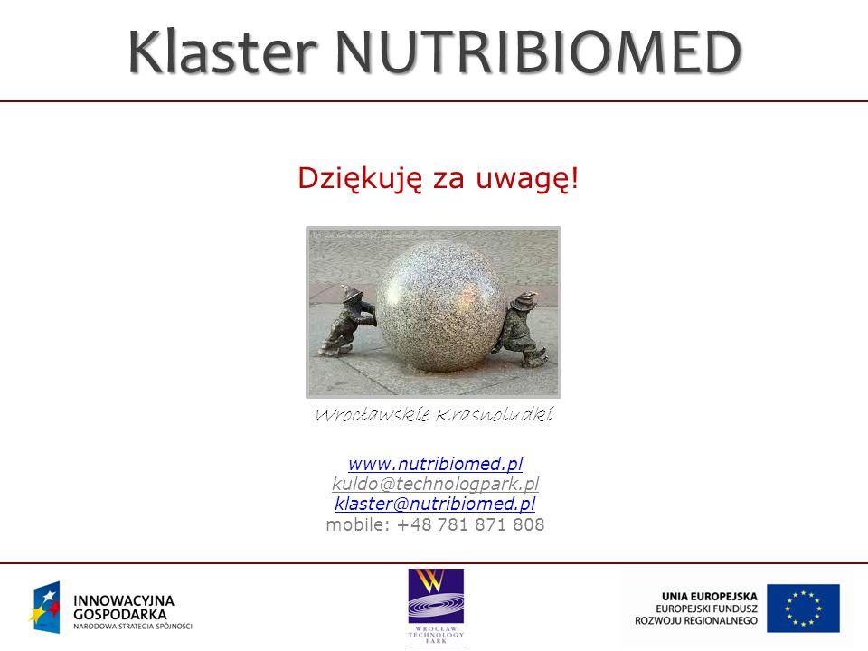 Klaster NUTRIBIOMED Wrocławskie Krasnoludki Dziękuję za uwagę! www.nutribiomed.pl kuldo@technologpark.pl klaster@nutribiomed.pl mobile: +48 781 871 80