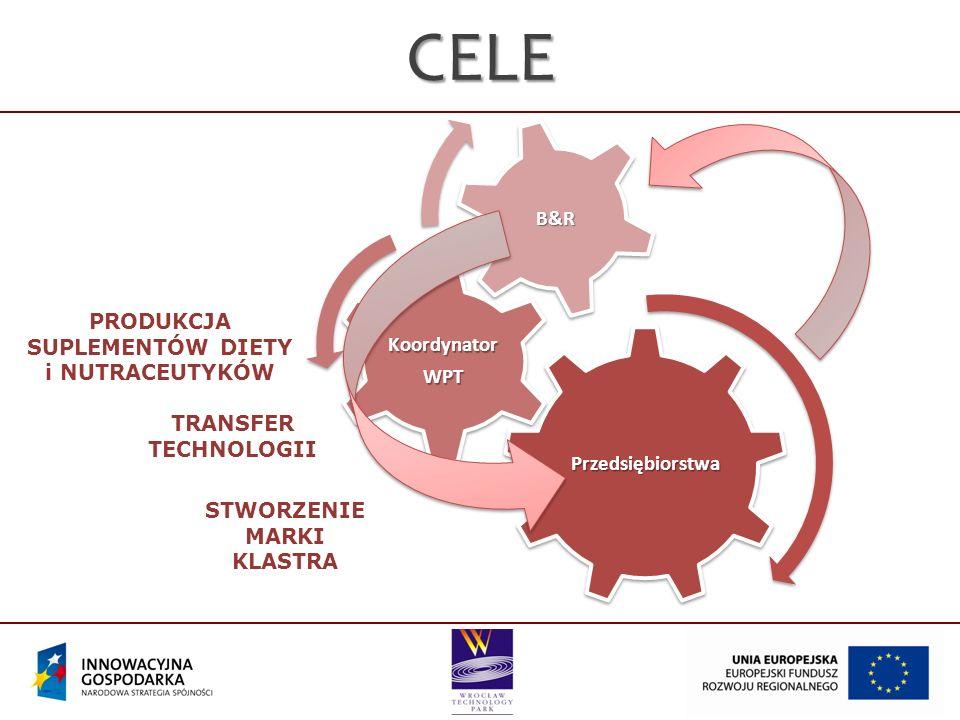 Przedsiębiorstwa KoordynatorWPT B&RCELE TRANSFER TECHNOLOGII STWORZENIE MARKI KLASTRA PRODUKCJA SUPLEMENTÓW DIETY i NUTRACEUTYKÓW