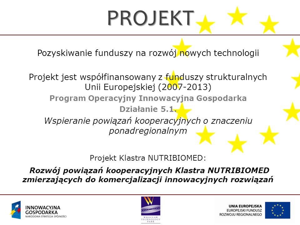 PROJEKT Pozyskiwanie funduszy na rozwój nowych technologii Projekt jest współfinansowany z funduszy strukturalnych Unii Europejskiej (2007-2013) Program Operacyjny Innowacyjna Gospodarka Działanie 5.1.