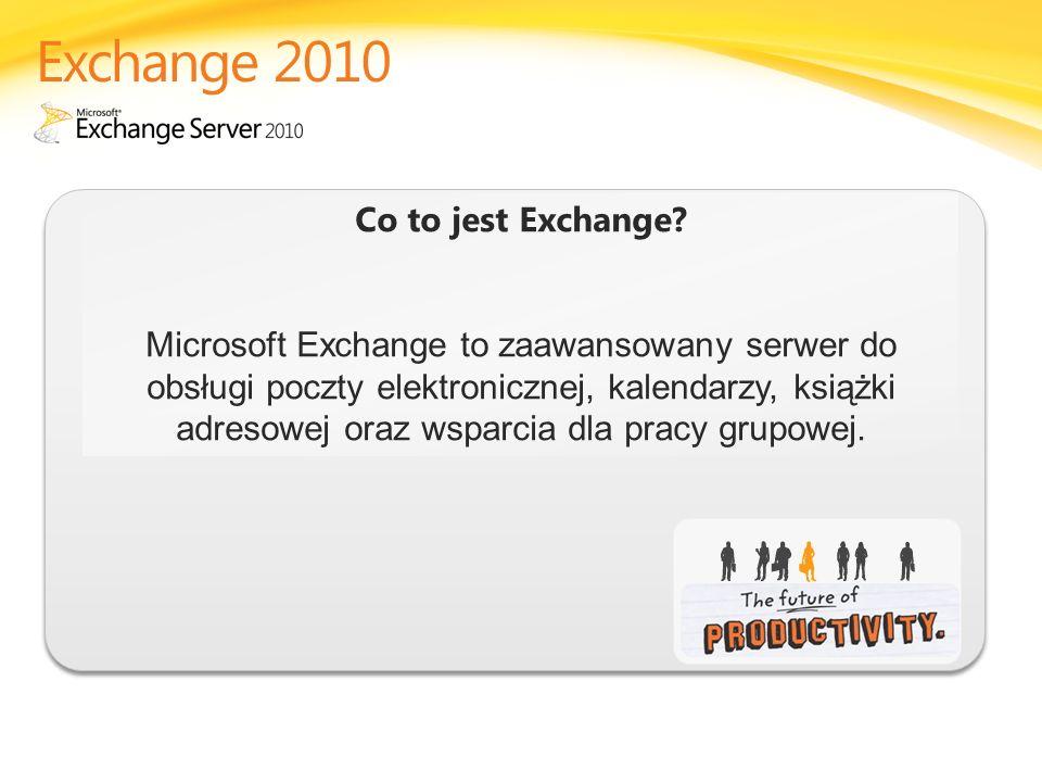Co to jest Exchange? Microsoft Exchange to zaawansowany serwer do obsługi poczty elektronicznej, kalendarzy, książki adresowej oraz wsparcia dla pracy