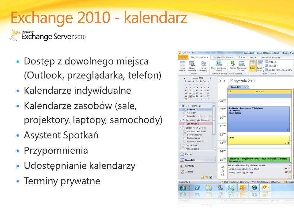 Dostęp z dowolnego miejsca (Outlook, przeglądarka, telefon) Kalendarze indywidualne Kalendarze zasobów (sale, projektory, laptopy, samochody) Asystent