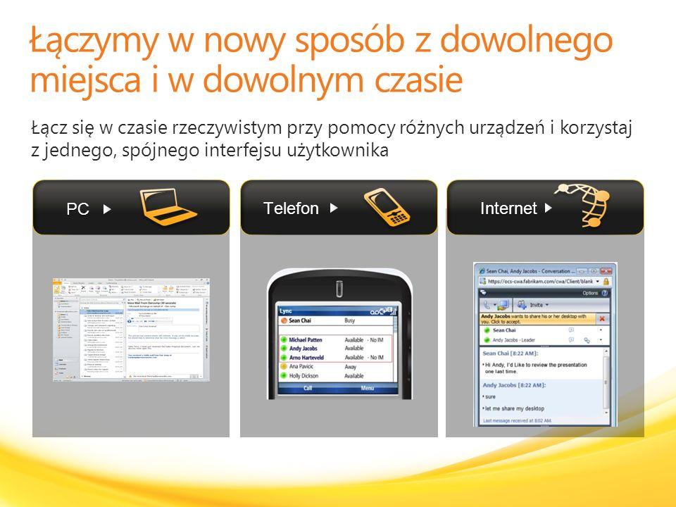 Łącz się w czasie rzeczywistym przy pomocy różnych urządzeń i korzystaj z jednego, spójnego interfejsu użytkownika PC Internet Telefon