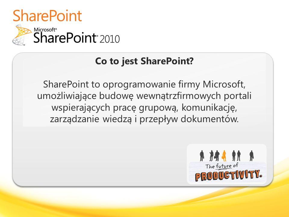 Co to jest SharePoint? SharePoint to oprogramowanie firmy Microsoft, umożliwiające budowę wewnątrzfirmowych portali wspierających pracę grupową, komun