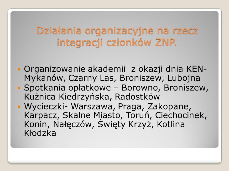 Działania organizacyjne na rzecz integracji członków ZNP. Organizowanie akademii z okazji dnia KEN- Mykanów, Czarny Las, Broniszew, Lubojna Spotkania