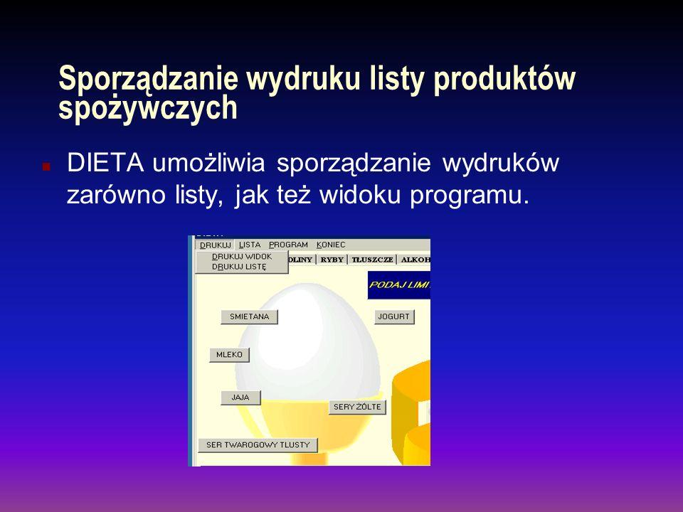 Generowanie listy wskazanych produktów n Program Dieta samoczynnie generuje listę wskazywanych produktów do momentu osiągnięcia zadanego limitu kalorii n pozwala na dostosowanie czcionki zastosowanej w liście.