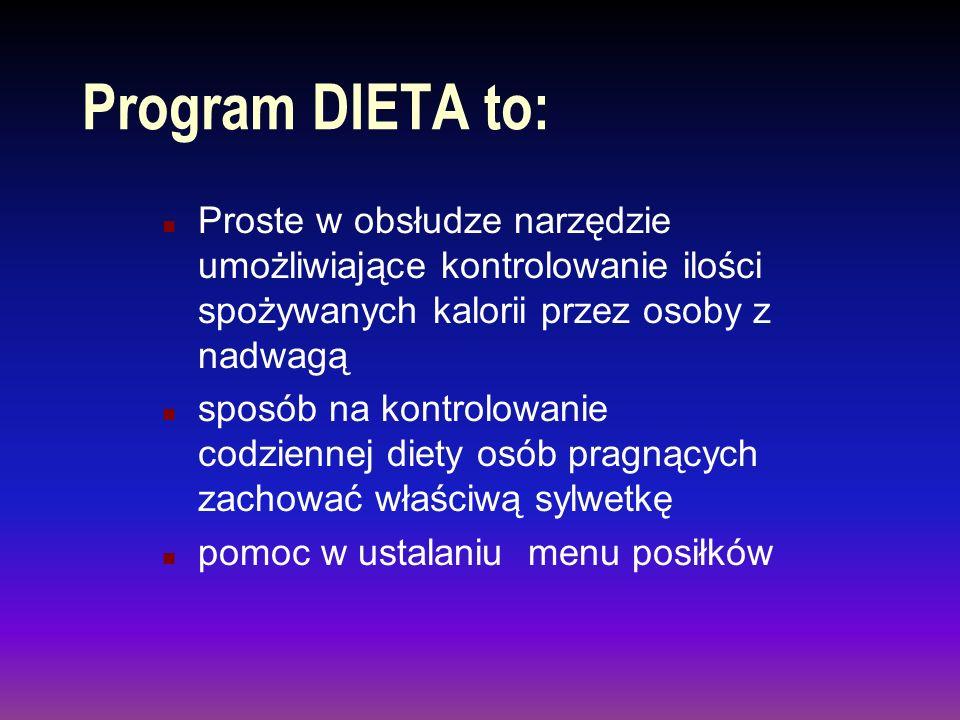 Sporządzanie wydruku listy produktów spożywczych n DIETA umożliwia sporządzanie wydruków zarówno listy, jak też widoku programu.
