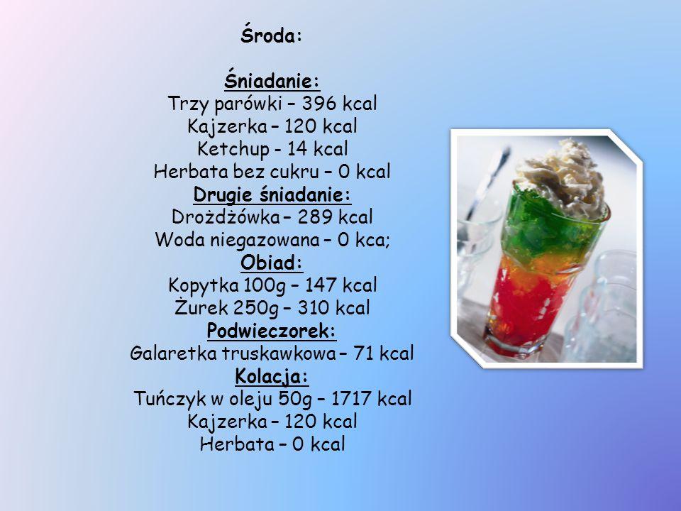 Środa: Śniadanie: Trzy parówki – 396 kcal Kajzerka – 120 kcal Ketchup - 14 kcal Herbata bez cukru – 0 kcal Drugie śniadanie: Drożdżówka – 289 kcal Wod